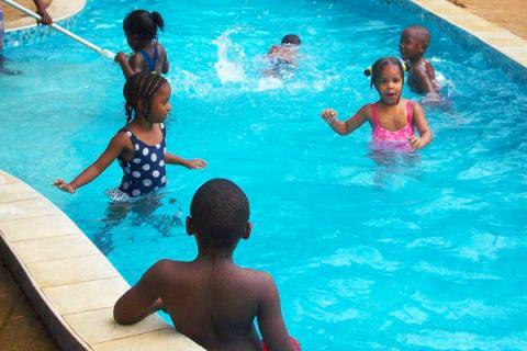 Fun at the swimming pool